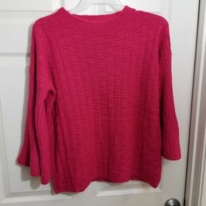 Umgee pink bell sleeve chunky sweater
